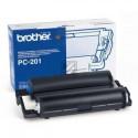 Original Brother Mehrfachkassette + 1 Thermo-Transfer-Rolle schwarz (PC-201RF)