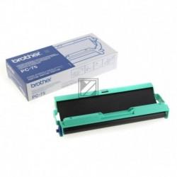 Original Brother Mehrfachkassette + 1 Thermo-Transfer-Rolle schwarz (PC-75)